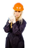 Beautiful girl Builder twist screwdriver Stock Photo