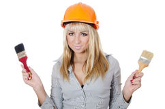 Beautiful girl in a building helmet Royalty Free Stock Photos