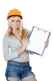 Beautiful girl in a building helmet Stock Photo
