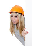 Beautiful girl in a building helmet Stock Photography