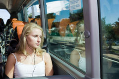 Beautiful girl in the bus Royalty Free Stock Images