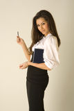 Beautiful girl in business outfit. With blue agenda and pen stock photos