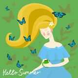 Beautiful girl with butterflies on her head. Vector illustration royalty free illustration