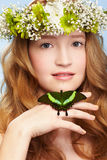 Beautiful girl and butterfly Royalty Free Stock Images