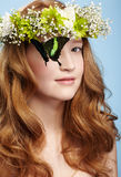 Beautiful girl and butterfly Stock Photography
