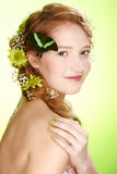 Beautiful girl and butterfly Stock Photo