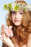 Beautiful girl and butterfly Stock Image