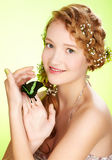 Beautiful girl and butterfly Royalty Free Stock Photo