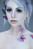Beautiful Girl With  Butterfly. Beauty Face Royalty Free Stock Photography