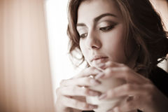Beautiful girl in the cafe. The image of a beautiful girl in a cafe Royalty Free Stock Photo