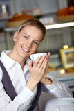 The beautiful girl in cafe Stock Images