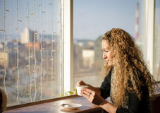 Beautiful girl  in a cafe Royalty Free Stock Photography