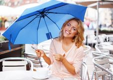 Beautiful girl in cafe Royalty Free Stock Images