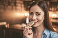 Beautiful girl at the cafe Royalty Free Stock Images