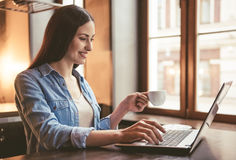 Beautiful girl at the cafe. Beautiful girl is using a laptop, drinking coffee and smiling while sitting at the cafe Stock Photos