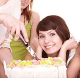 Beautiful girl with cake. Stock Images