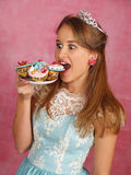 The beautiful girl with a cake Royalty Free Stock Photo