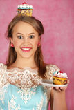 The beautiful girl with a cake Royalty Free Stock Image