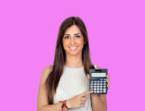 Beautiful girl with a calculator Stock Photo