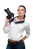 Beautiful Girl with the camera Royalty Free Stock Photos