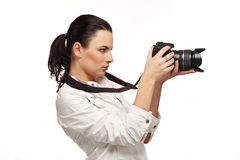 Beautiful Girl with the camera royalty free stock images