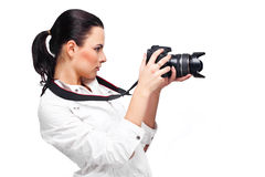 Beautiful Girl with the camera Royalty Free Stock Photography