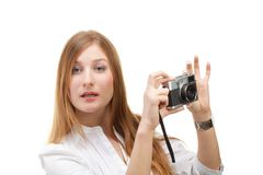 Beautiful Girl with the camera Stock Photo