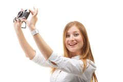 Beautiful Girl with the camera Royalty Free Stock Photo