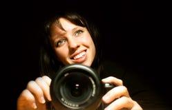 Beautiful girl with camera Royalty Free Stock Photo