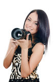 The beautiful girl with the camera Stock Photography