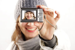 Beautiful girl with a camera Royalty Free Stock Photo