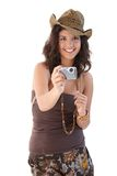Beautiful girl with camera smiling Royalty Free Stock Images