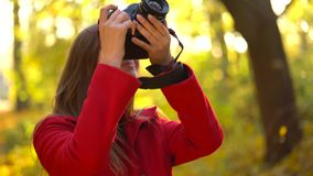 Beautiful girl with a camera walks through the autumn forest and takes pictures. Weekend outside the city. Weekend outside the city stock video
