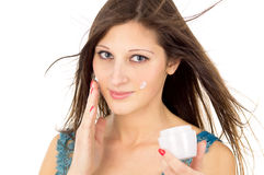 Beautiful girl with a can of cream Royalty Free Stock Photos