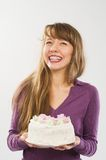 Beautiful girl with candy smiling Royalty Free Stock Photography