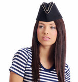 Beautiful girl in captain's hat Royalty Free Stock Images