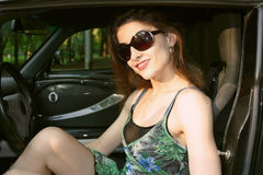 The beautiful girl in the car Stock Photography