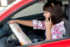 Beautiful girl in the car Royalty Free Stock Photos