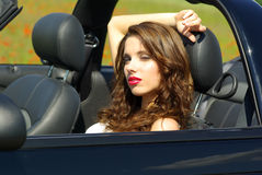 Beautiful girl in car Royalty Free Stock Photos