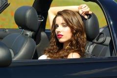 Beautiful girl in car royalty free stock photos