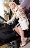 The beautiful girl in the car Stock Images
