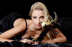 The beautiful girl in carnival mask Royalty Free Stock Photos