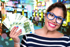 Beautiful girl in casino Stock Photography