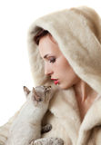 Beautiful girl with a cat. Royalty Free Stock Image