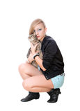 Beautiful girl with a cat Stock Photography