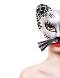 Beautiful  girl in cat mask Stock Image