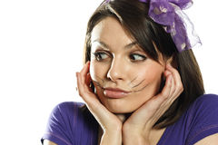 Beautiful girl with cat whiskers Royalty Free Stock Photo