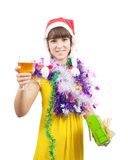Beautiful girl celebrating New Year Stock Photo