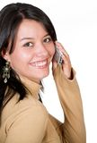 Beautiful girl on a cell phone Stock Photography