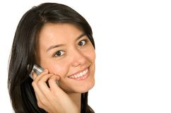 Beautiful girl on a cellphone Stock Image